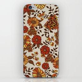 Retro 70s boho hippie orange flower power iPhone Skin