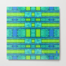 Simple geometric paint 2 - Parallel bars in green Metal Print