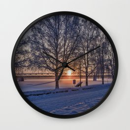 Sunset in Rovaniemi. Wall Clock