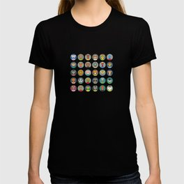 Set of animals faces circle icons set in Trendy Flat Style. zoo T-shirt