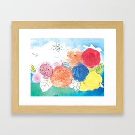 Watercolor and Ink Floral Bouquet Framed Art Print