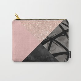 Modern pastel pink black strokes watercolor color block Carry-All Pouch