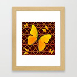 YELLOW BUTTERFLIES BROWN ART Framed Art Print