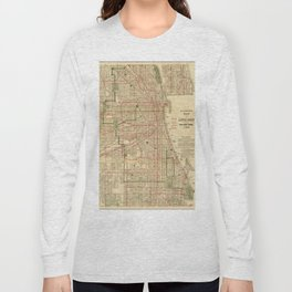 Vintage Map of The Chicago Railroads (1906) Long Sleeve T-shirt