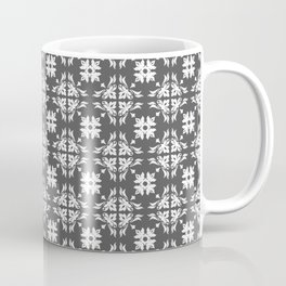 Grey & White Floral Tile Pattern Coffee Mug