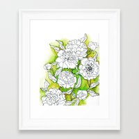 peonies Framed Art Prints featuring Peonies by Dheiuk