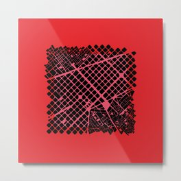 Barcelona map red ext Metal Print