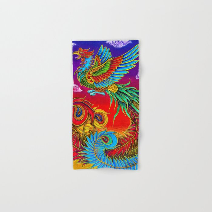 Colorful Fenghuang Chinese Phoenix Rainbow Bird Hand & Bath Towel