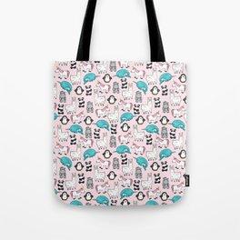 Panda, Narwhal, Llama, Penguin, Hippo, Girl's Animal Illustrations, Pink Print Tote Bag