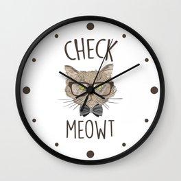 Check Meowt, Funny Cute Cat Wall Clock