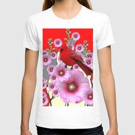MODERN  RED ART PINK HOLLYHOCKS & RED CARDINAL BIRD T-shirt