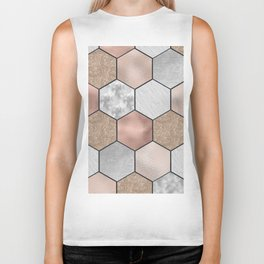 Marble hexagons and rose gold on black Biker Tank