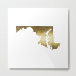 maryland gold foil state map Metal Print