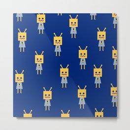 Shy Little Robot (blue) Metal Print