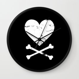 Heart and Crossbones - White Wall Clock