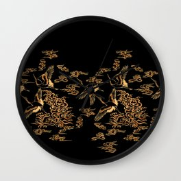 Crane and clouds Wall Clock