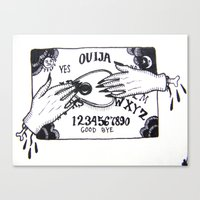ouija Canvas Prints featuring Ouija by Hannah Earley