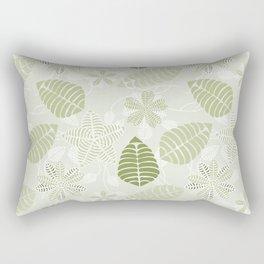 Olive Green Tropical Leaf Floral Pattern Rectangular Pillow