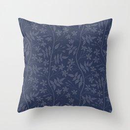 Star jasmine creeper on bright indigo blue  Throw Pillow