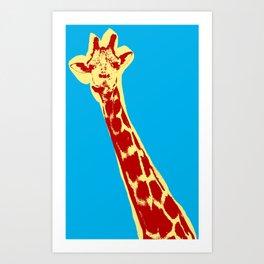 Giraffe picture over light blue background in pop art style Art Print