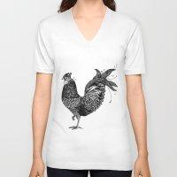 chicken V-neck T-shirts featuring Chicken  by Aubree Eisenwinter