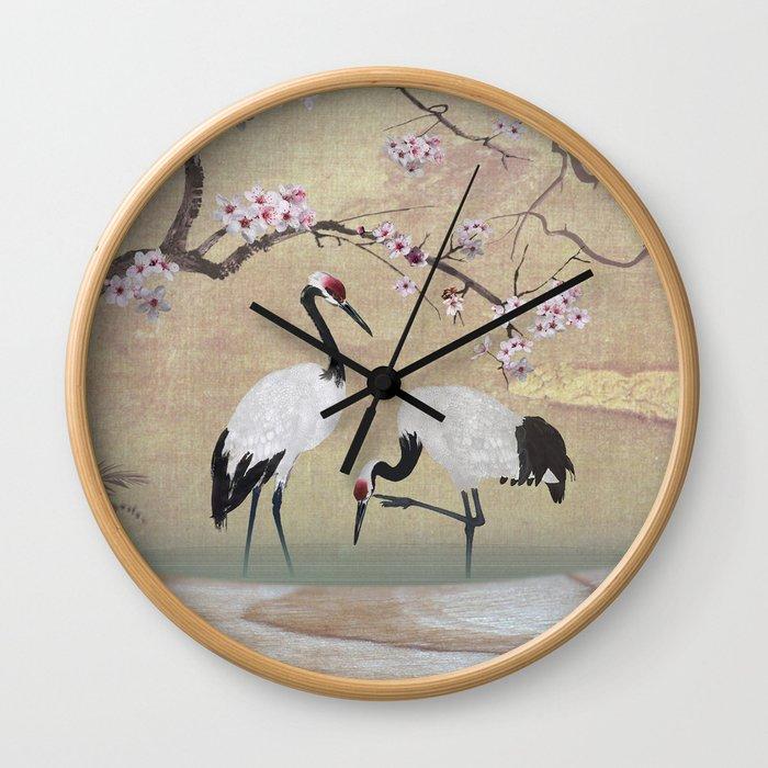 Cranes Under Cherry Tree Wall Clock