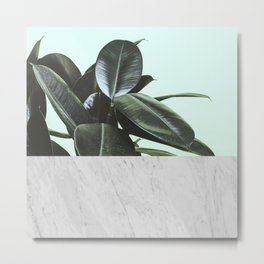 Tropical leaves and marble Metal Print