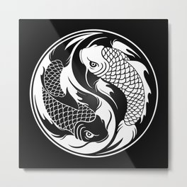 White and Black Yin Yang Koi Fish Metal Print