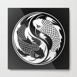 White and Black Yin Yang Koi Fish Metal Print