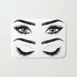 Eyes with long eyelashes and brows Bath Mat