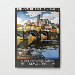 Limoges, French Travel Poster Metal Print
