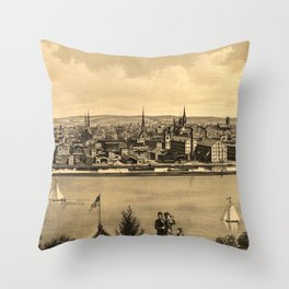 Vintage Pictorial Map of New Brunswick NJ (1880) Throw Pillow