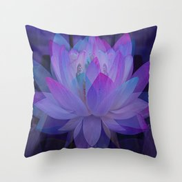 The Lotus in blue... Throw Pillow