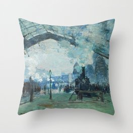 Arrival of the Normandy Train Gare Saint-Lazare Throw Pillow