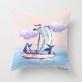 Penguins sailing on the waves of adventure. Throw Pillow