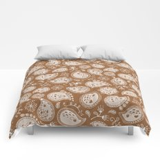 Hedgehog Paisley_Moka Comforters