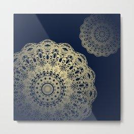 Mandala Flower Bohemian Navy Cream Metal Print