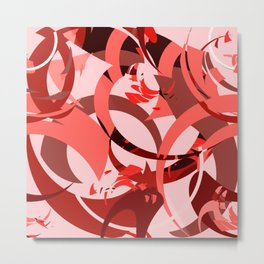 Abstract Curls - Burgundy, Coral, Pink Metal Print