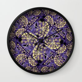 Golden Blooms in a Purple Mist Wall Clock