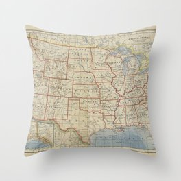Old and Vintage Map of every States of The United States Of America Throw Pillow