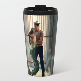The marine and the mermaid in trouble Travel Mug