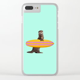 SURFING OTTER Clear iPhone Case