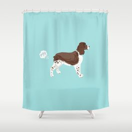 english springer spaniel funny farting dog breed gifts Shower Curtain