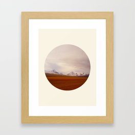 Prairie Meets Snow Mountain Landscape Round Photo Framed Art Print