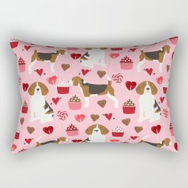 Beagle valentines day cupcakes heart love dog breed must have gifts Rectangular Pillow