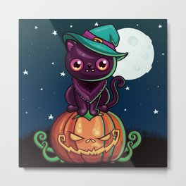 Ferociously Cute Halloween Vampire Witch Kitty Cat Metal Print