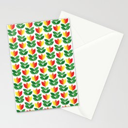 Red, yellow and orange Tulips (and one ladybug) Stationery Cards