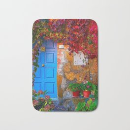 Picturesque Red Ivy with Light Blue Doorway Photograph Bath Mat