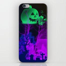 Eerie Halloween Graveyard, Grinning Skulls and Swooping Bats iPhone Skin