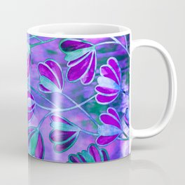 EFFLORESCENCE Lavender Purple Blue Colorful Floral Watercolor Painting Summer Garden Flowers Pattern Coffee Mug